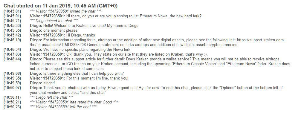 Live chat met Kraken over Ethereum Nowa.